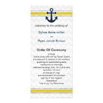 chevron stripes, anchor, nautical Wedding program