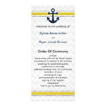 chevron stripes, anchor, nautical Wedding program