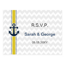 chevron stripes, anchor, nautical wedding rsvp postcard