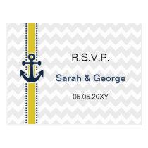 chevron stripes, anchor, nautical wedding rsvp postcard