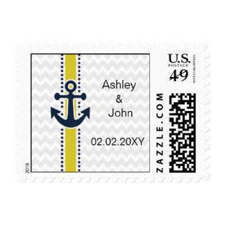 chevron stripes, anchor, nautical wedding stamps
