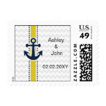 chevron stripes, anchor, nautical wedding stamps