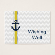 chevron stripes,anchor, nautical wishing well card