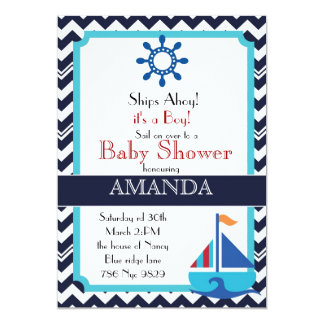 Chevron Stripes and Nautical sailboat baby shower Card