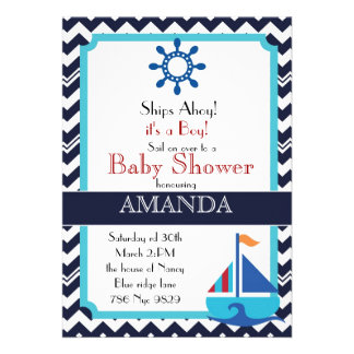 Chevron Stripes and Nautical sailboat baby shower Personalized Invitations