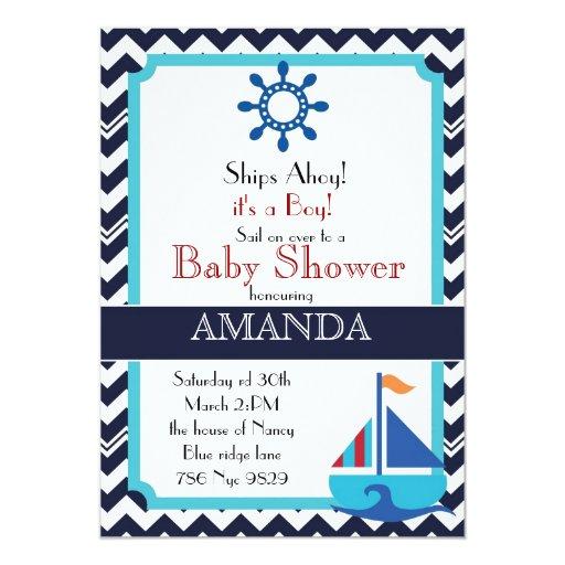 and nautical sailboat baby shower 5 x 7 invitation card zazzle