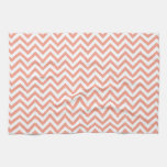 Chevron Stripes Background // Coral Peach Kitchen Towels