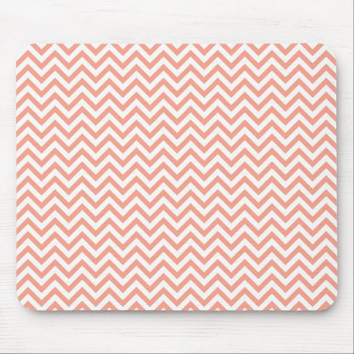 Chevron Stripes Background // Coral Peach Mouse Pad
