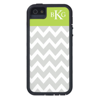 Chevron Stripes & Monogram | Grey Green Case For iPhone 5