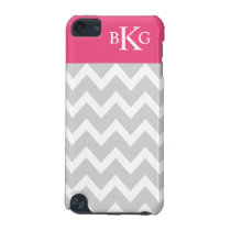 Chevron Stripes & Monogram | Grey Hot Pink iPod Touch 5G Cover