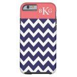 Chevron Stripes & Monogram | Navy Blue Coral Tough iPhone 6 Case