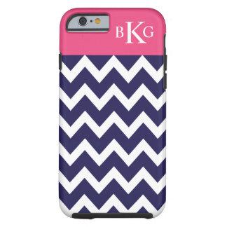 Chevron Stripes & Monogram | Navy Blue Hot Pink Tough iPhone 6 Case