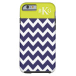 Chevron Stripes & Monogram | Navy Blue Lime Green Tough iPhone 6 Case
