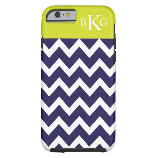 Chevron Stripes & Monogram | Navy Blue Lime Green iPhone 6 Case