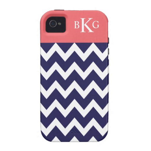 Chevron Stripes & Monogram | Navy Coral Case-Mate iPhone 4 Covers