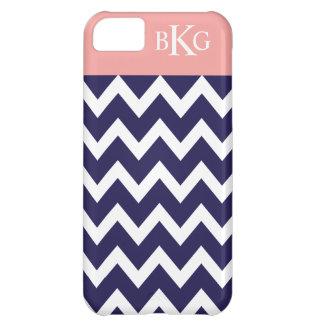 Chevron Stripes & Monogram | Navy Coral Pink iPhone 5C Cases