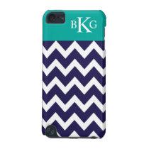 Chevron Stripes & Monogram | Navy Jade iPod Touch 5G Case
