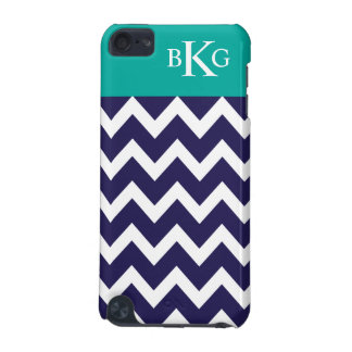 Chevron Stripes & Monogram | Navy Jade iPod Touch (5th Generation) Cover