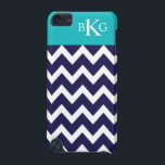 "Chevron Stripes &amp; Monogram | Navy Teal iPod Touch 5G Cover<br><div class=""desc"">Protect your phone or device in style with a simple, modern and stylish Chevron or zigzag striped pattern design case or cover that is custom monogrammed with your first, middle and last name initials in a preppy font. Navy Blue and white horizontal stripes contrasted with a Teal color block background....</div>"