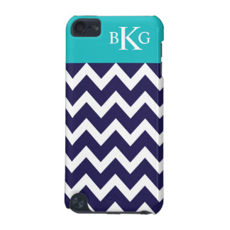 Chevron Stripes & Monogram | Navy Teal iPod Touch 5G Cover