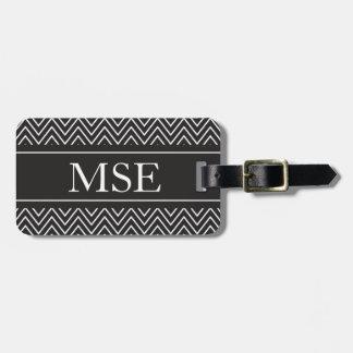 Chevron Stripes Personalized Monogram Black White Bag Tags