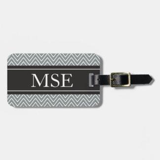 Chevron Stripes Personalized Monogram Grey Black Tag For Luggage