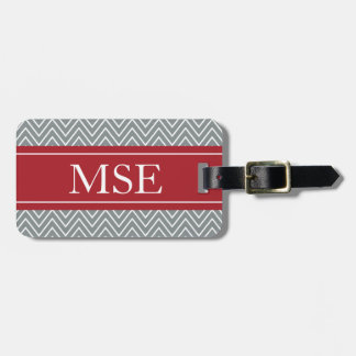Chevron Stripes Personalized Monogram Grey Red Tag For Luggage