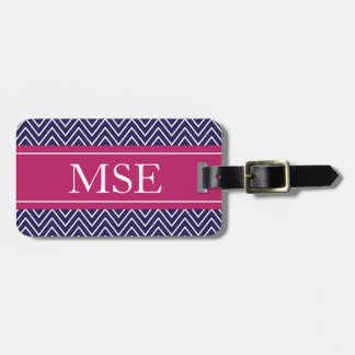 Chevron Stripes Personalized Monogram Navy Berry Tag For Bags