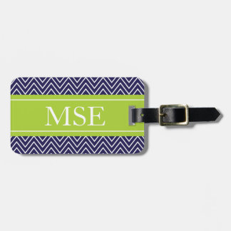 Chevron Stripes Personalized Monogram Navy Lime Luggage Tag