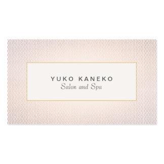 Chevron sutil y salón y balneario elegantes rosas  tarjetas personales