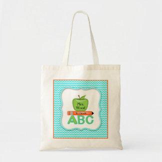 Chevron Teacher Bag with Green Apple