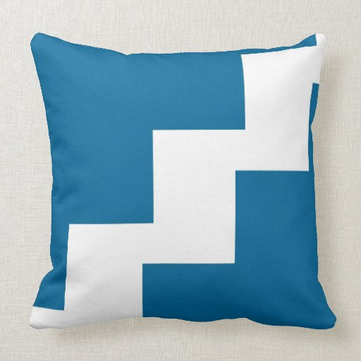 Chevron Teal and White Toss Pillow