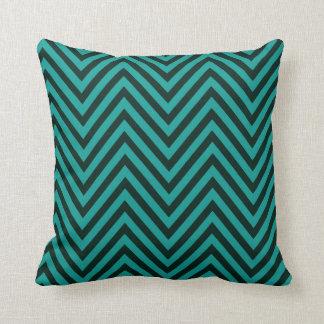 Chevron - teal evergreen throw pillows