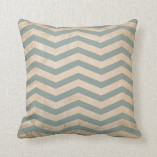 Chevron Teal Slate Blue Lines Grunge Texture Pillow