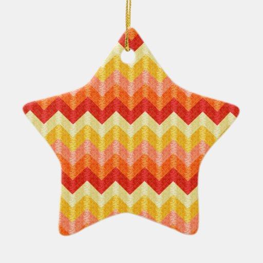 Chevron texturizado adorno navideño de cerámica en forma de estrella