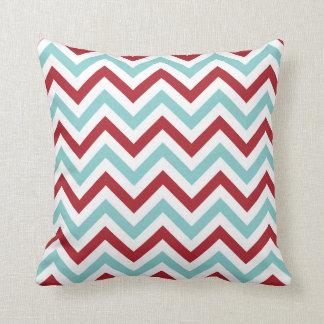 Chevron Throw Pillow | {Aqua & Red}