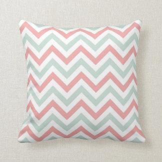 Chevron Throw Pillow | {Mint & Coral}