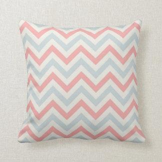 Chevron Throw Pillow {Powder Blue, Coral & Cream}