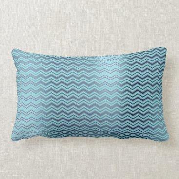 McTiffany Tiffany Aqua Chevron Tiffany Navy Blue Aqua Metallic Zig Zag Lumbar Pillow