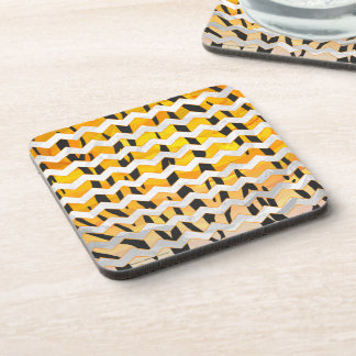 Chevron Tiger Black and Orange Print Coaster