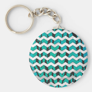 Chevron Tiger Black and Teal Print Keychain