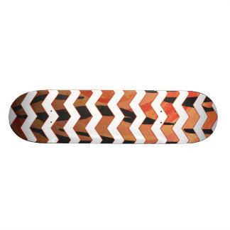 Chevron Tiger Hot orange and Black Print Skateboard Deck