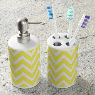 Chevron Toothbrush Holder & Soap Dispenser Set