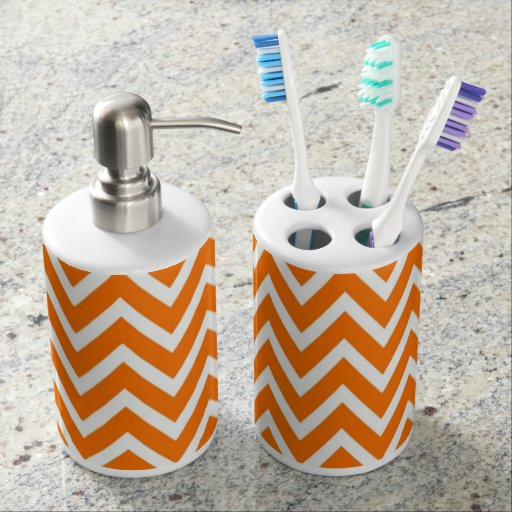 Chevron Toothbrush Holder & Soap Dispenser Set