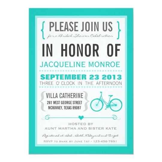 Chevron Trendy Bicycle Bridal Shower Invitation