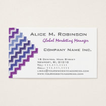 Chevron Tribal ZigZag Pattern in Blue and Purple Business Card
