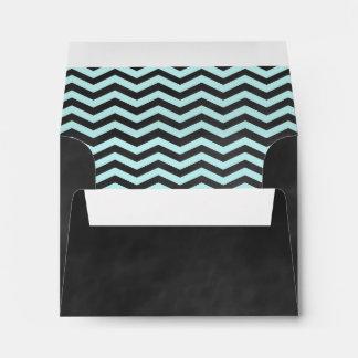 Chevron Turquoise Chalkboard RSVP Envelope