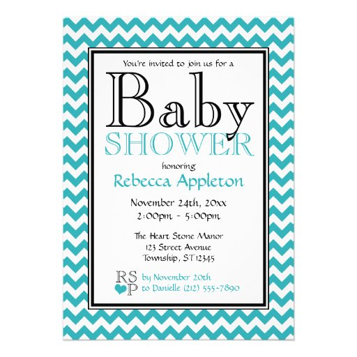 chevron turquoise white baby shower invitations 5 quot x 7