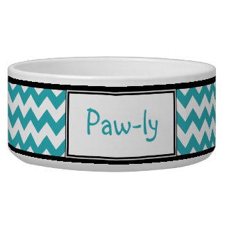 Chevron Turquoise & White Personalized Dog Bowl