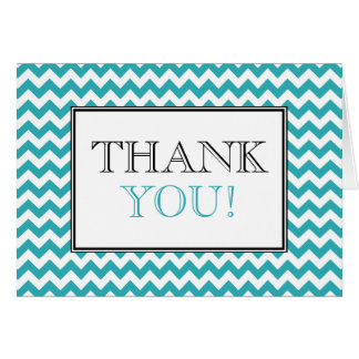 Chevron Turquoise & White Thank You Card